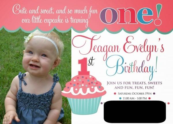 Cupcake Themed 1st Birthday Invitations