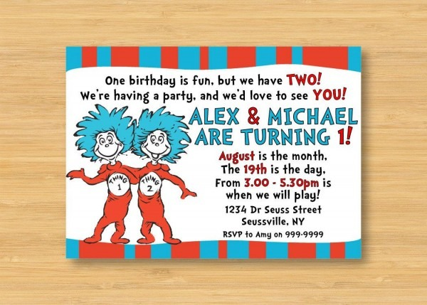 Dr Seuss Thing 1 And Thing 2 Invitation