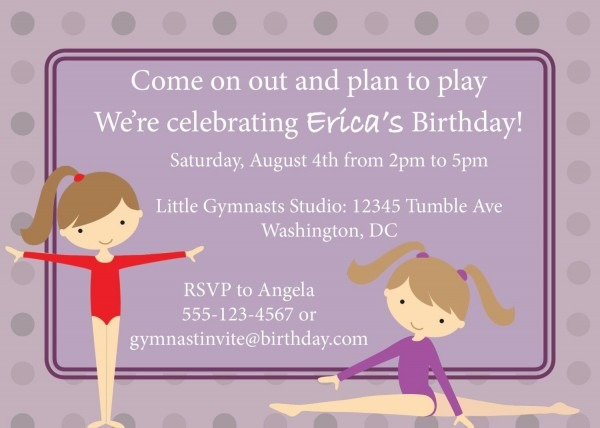 Free Printable Birthday Party Invitations Gymnastics
