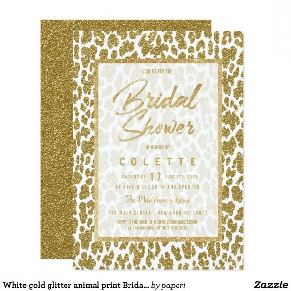 White Gold Glitter Animal Print Bridal Shower Invitation In 2018