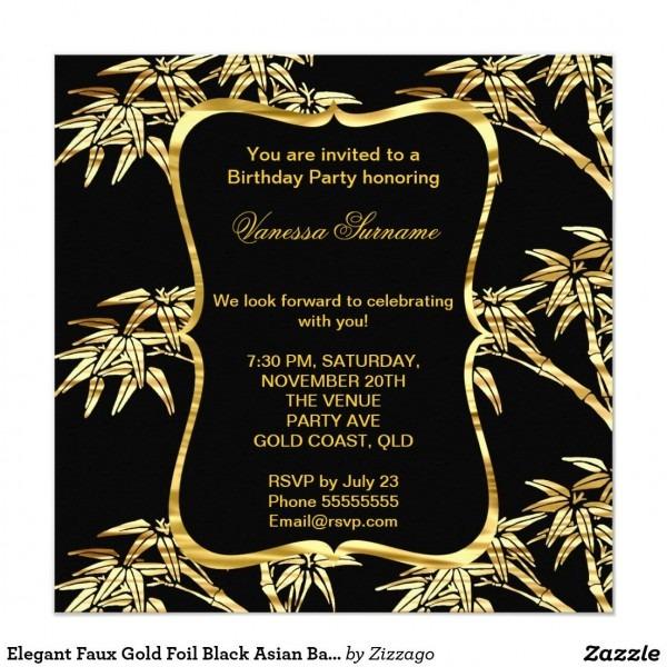 Elegant Faux Gold Foil Black Asian Bamboo Party Invitation