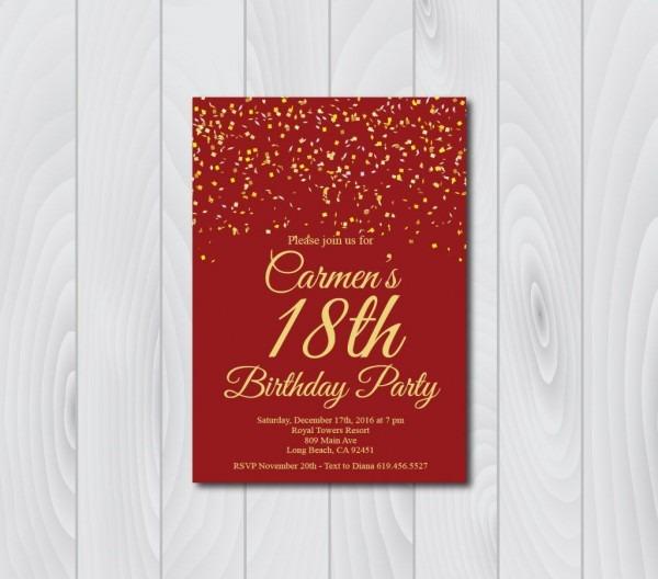 18th Birthday Invitation Printable Gold & Red Birthday Invitation