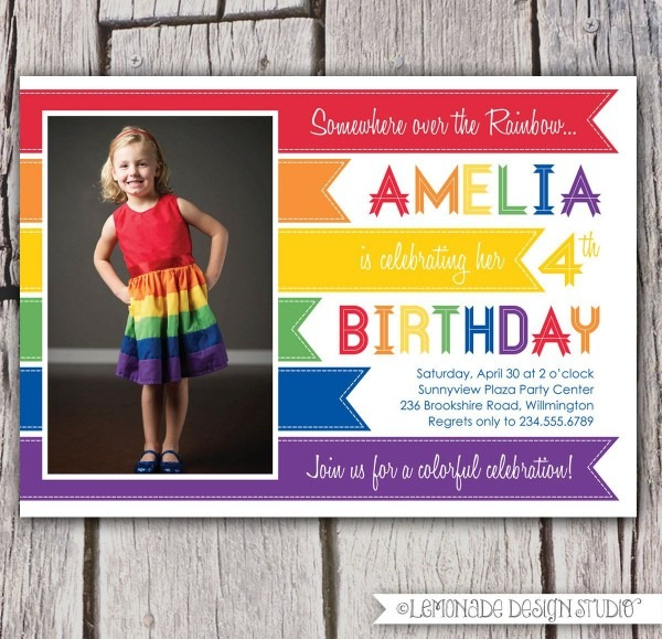 Rainbow Invitation, Rainbow Birthday Party Invitation, Rainbow