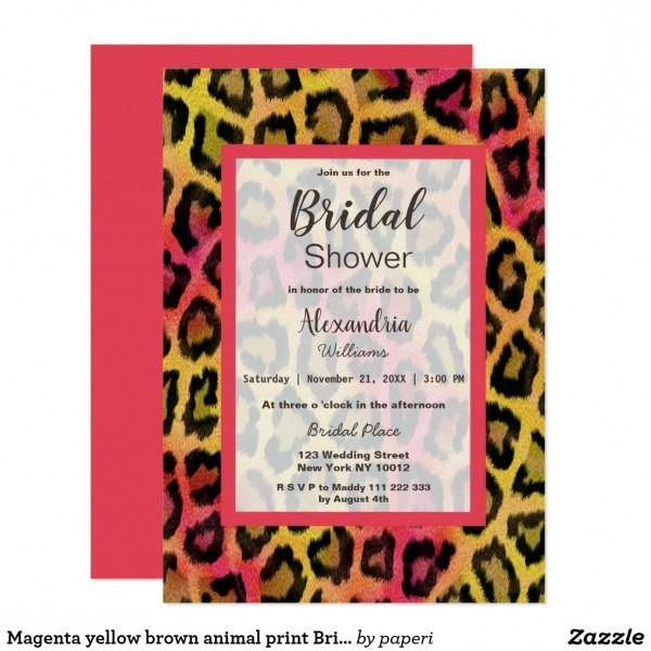 Magenta Yellow Brown Animal Print Bridal Shower Invitation In 2018