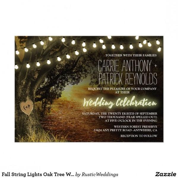 Fall String Lights Oak Tree Wedding Invitations Fall String Lights