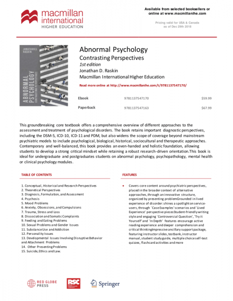 Abnormal Psychology  Contrasting Perspectives
