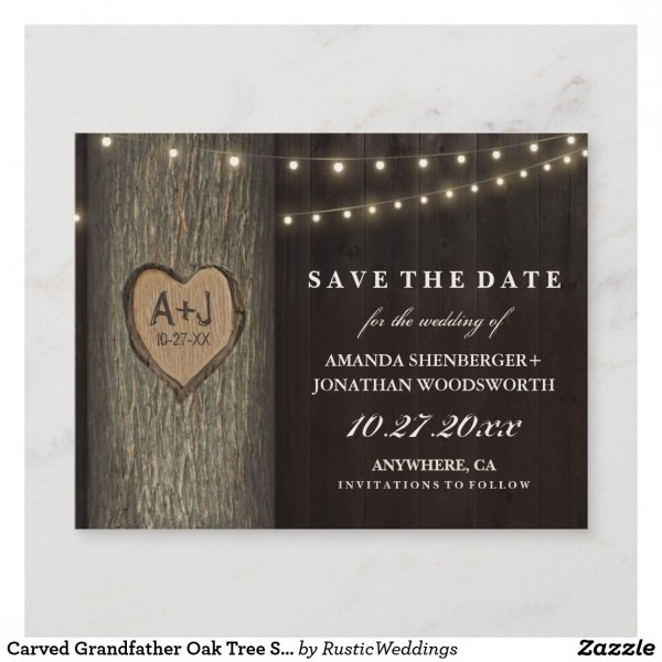 Carved Grandfather Oak Tree Save The Date Cards In 2018