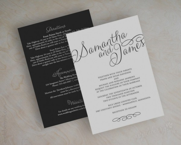 All In One Wedding Invitations And Response Cards Awesome Plain