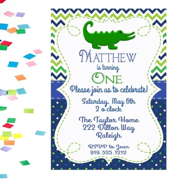 Alligator Birthday Invitation, Alligator Invitation, Boys Birthday