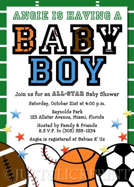 All Star Sports Baby Boy Shower Invitation Printable · Just Click