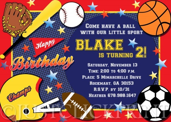 All Star Sports Birthday Party Photo Invitation Printable · Just