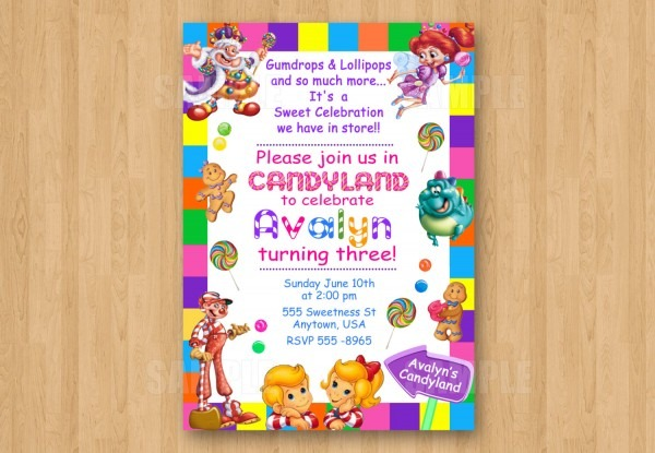 Amazing Candyland Birthday Invitations 37 About Remodel