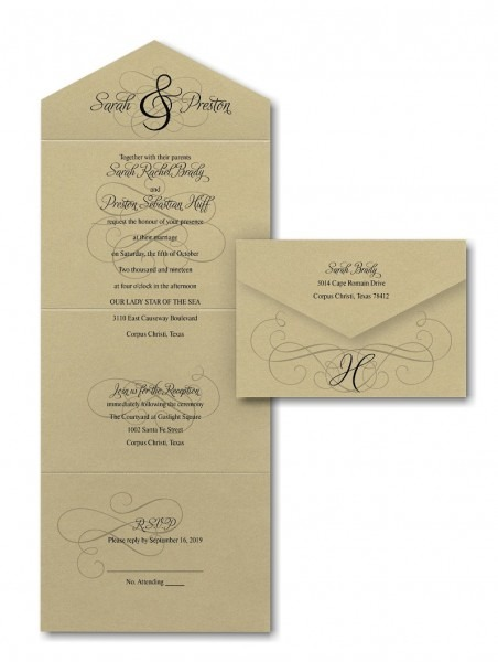 Ampersand Calligraphy Seal 'n Send Wedding Invitation