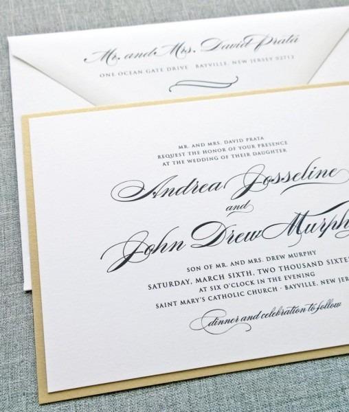 Andrea Script Metallic Gold Layered Wedding Invitation Sample