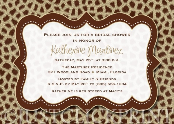 Animal Prints Birthday Or Bridal Shower Invitation Printable