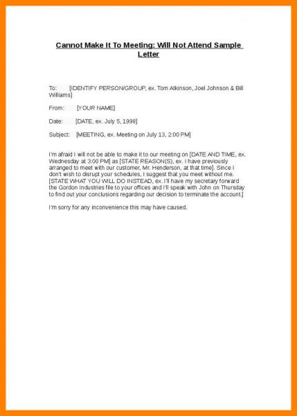 Apology Letter For Not Attending Meeting Sample Of Invitation
