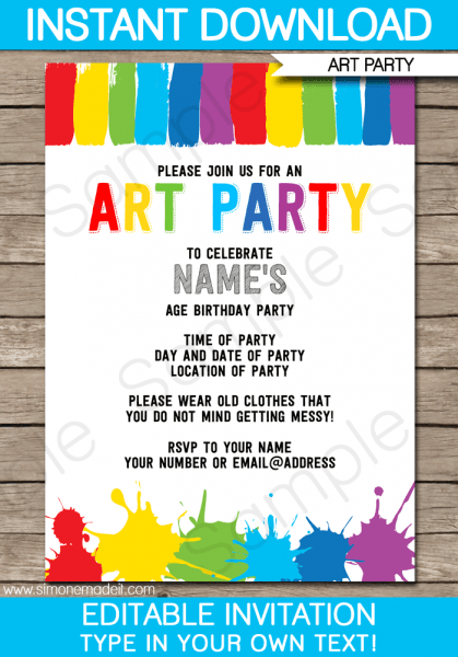 Painting Party Invitations Free Printable