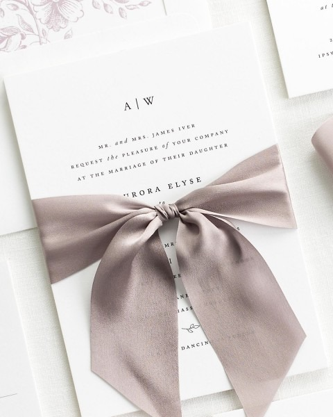 Aurora Ribbon Wedding Invitations