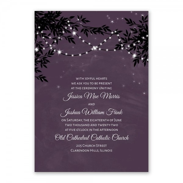 String Of Lights Invitation With Free Response Postcard