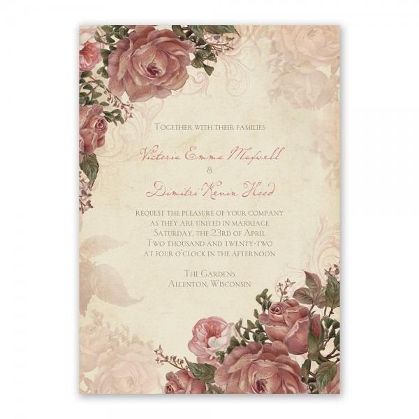 Vintage Roses Invitation With Free Response Postcard