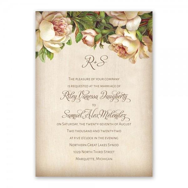 Antique Rose Invitation With Free Response Postcard