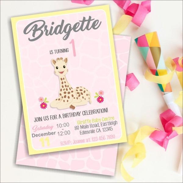 Sophie Giraffe 1st Birthday Invitation, 1st Birthday, Giraffe