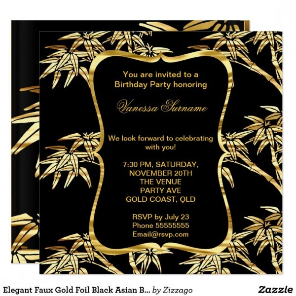 Elegant Faux Gold Foil Black Asian Bamboo Party Invitation In 2018
