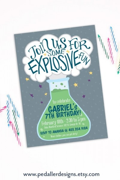 Science Party Invitation, Printable Mad Scientist Birthday Invite