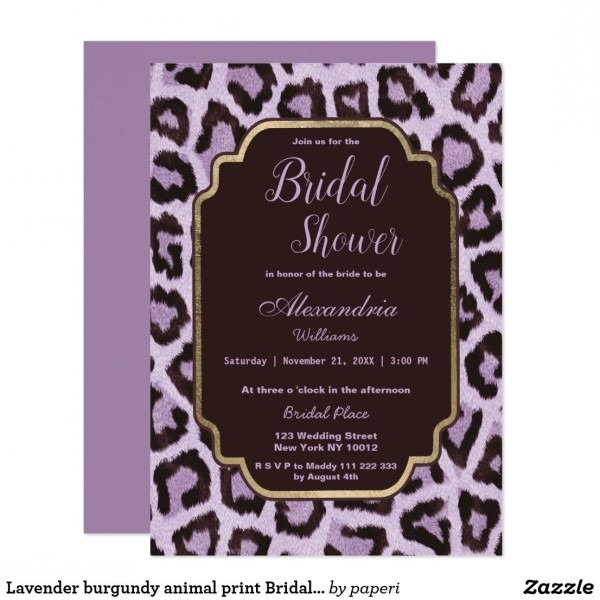 Lavender Burgundy Animal Print Bridal Shower Invitation
