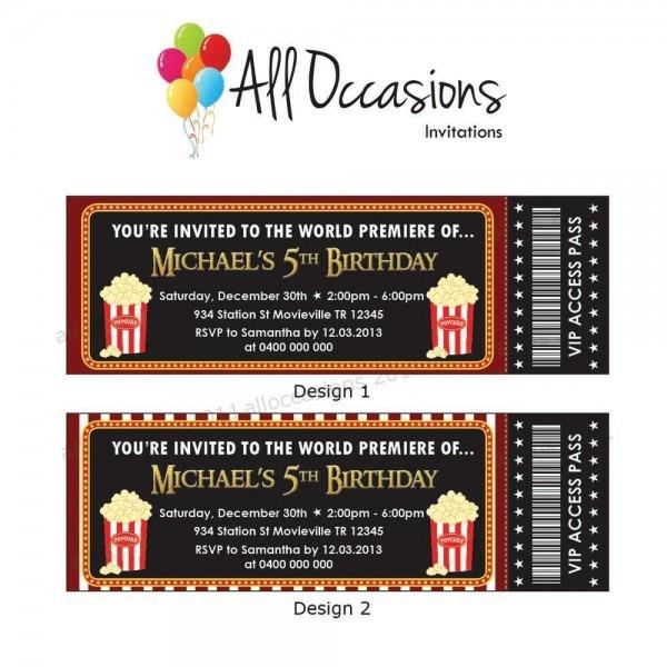 Personalised Custom Movie Ticket  Movie Party, Slumber Party