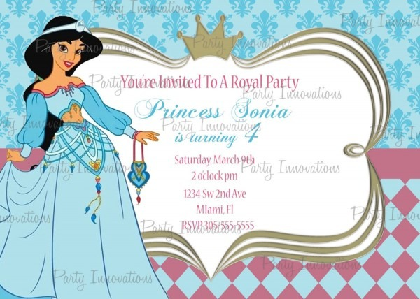 Printable Princess Jasmine, Aladdin Birthday Party Invitation Plus