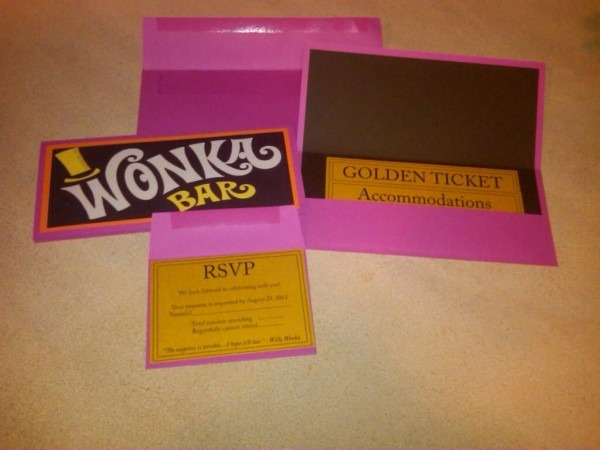 The Final Version Of Our Own Willy Wonka Theme Wedding's Invite
