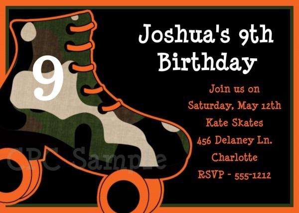 Boys Rollerskating Birthday Party Invitations