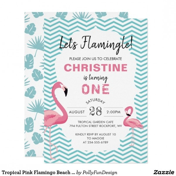 Tropical Pink Flamingo Beach Birthday Invitation In 2018