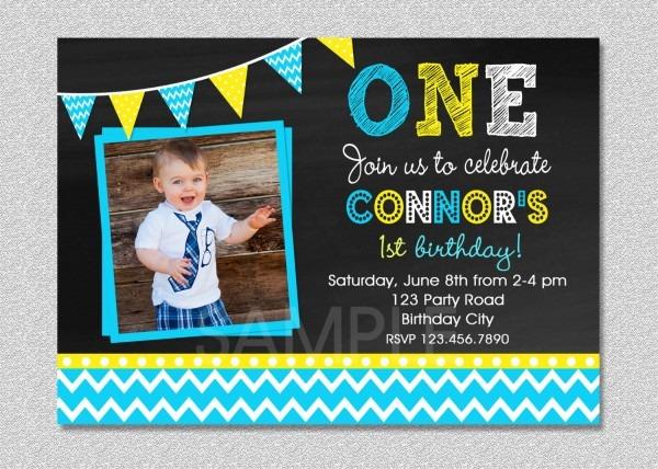 Baby Boy Birthday Invitation Card Fresh Chalkboard Chevron Boys