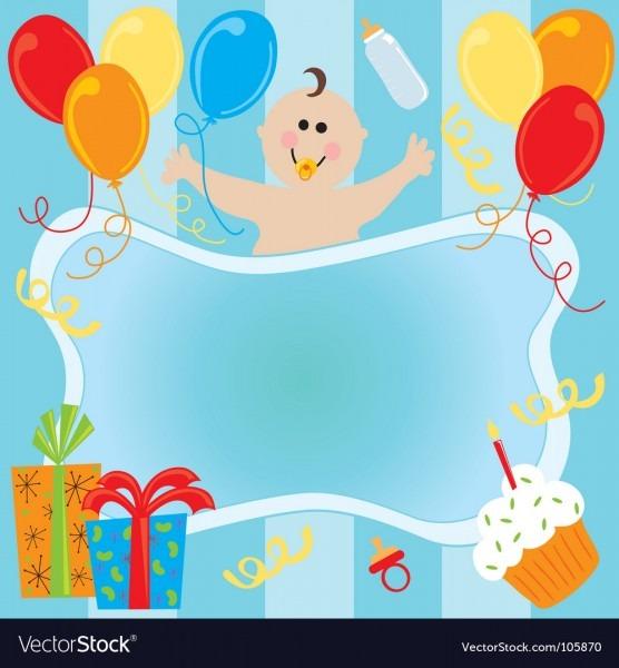 Baby Boy Birthday Invitation Royalty Free Vector Image