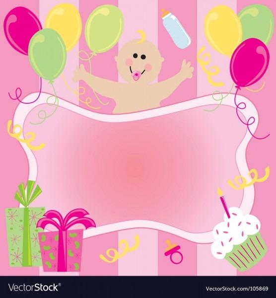 Baby Girl Birthday Invitation Royalty Free Vector Image