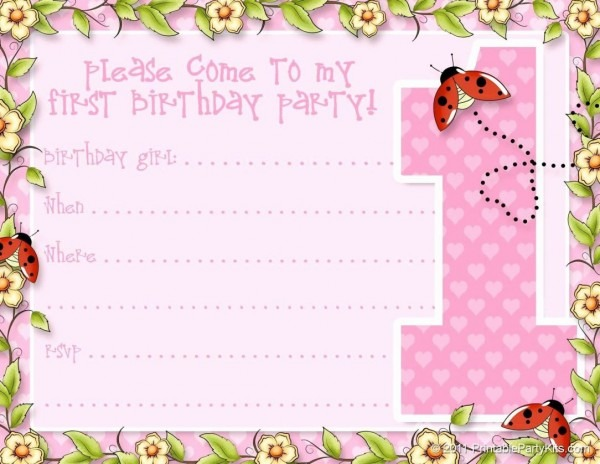 Exemplary Baby Girl First Birthday Invitation Poems Free 1st Card