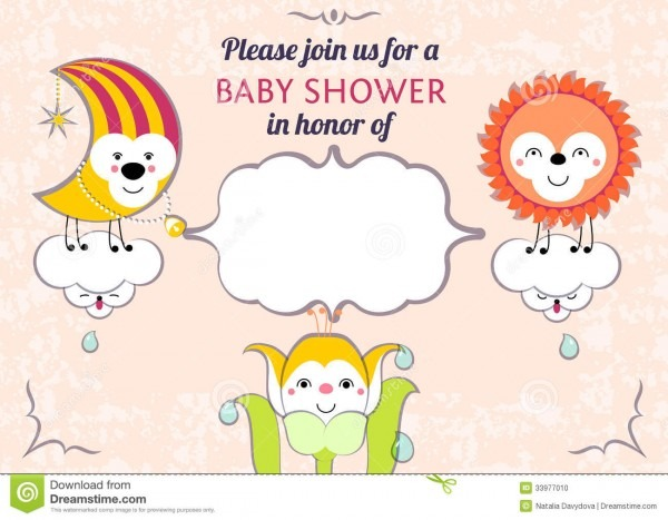 Baby Shower Invitation Card Editable Template Funn Stock Vector