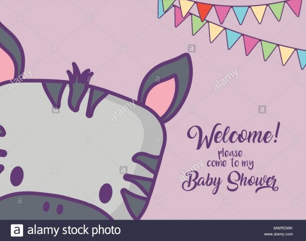Baby Shower Invitation Card With Cute Zebra Icon And Decorative