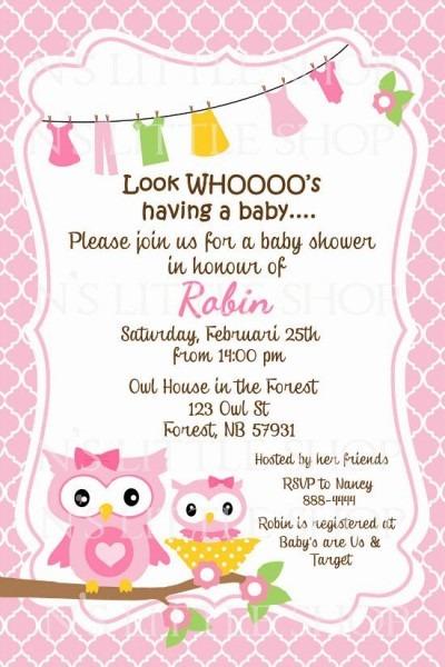 Baby Shower Invite Wording, Western Baby Shower Invitations, Owl