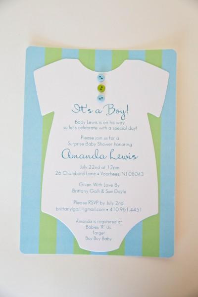 Onesie Baby Shower Invitation • Blue Green Baby Shower Invitation