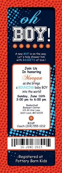 Baby Boy Shower Invitations Sports Theme