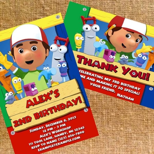 Handy Manny Birthday Party Invite And Thank You