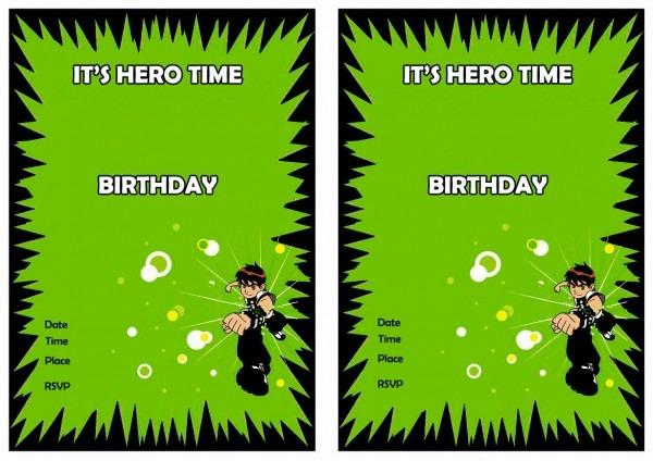 Ben 10 Birthday Invitations