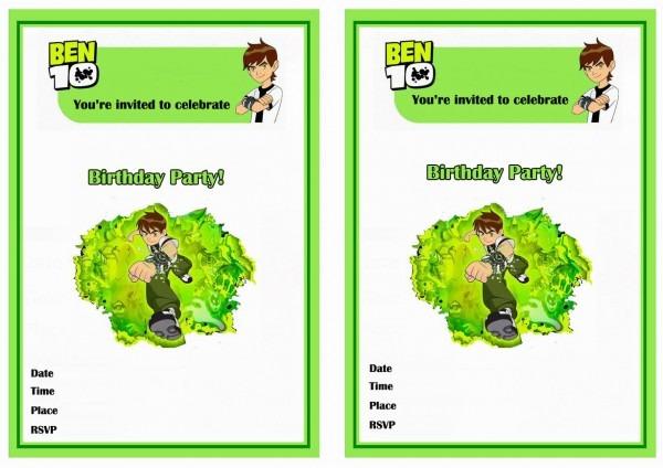 Ben 10 Invitation Card