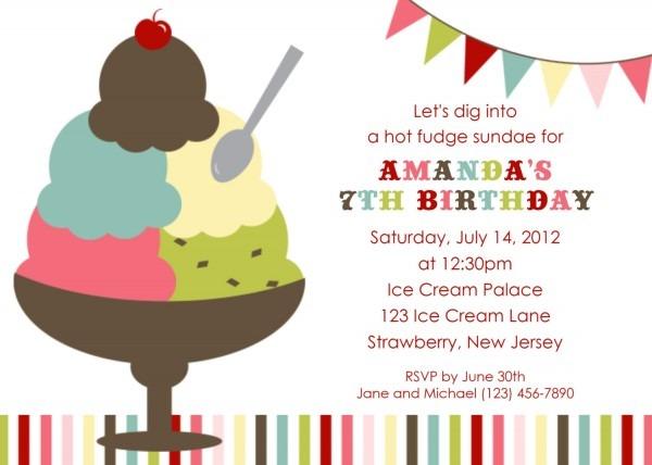 Invitation  Ice Cream Sundae Party Invitations