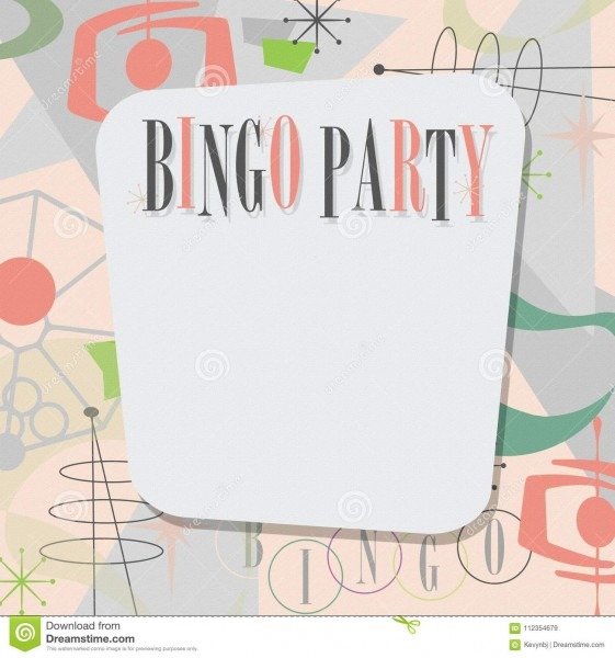 Bingo Party Invitation Mid Century Modern Cool Stock Illustration
