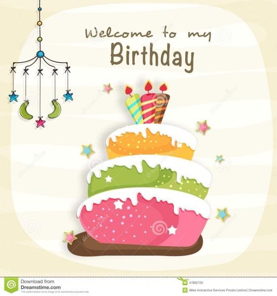 Birthday Celebration Invitation Card Design  Stock Illustration
