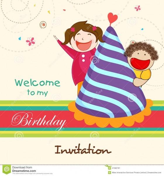 Birthday Invitation Card Kids Stock Illustrations – 10,266